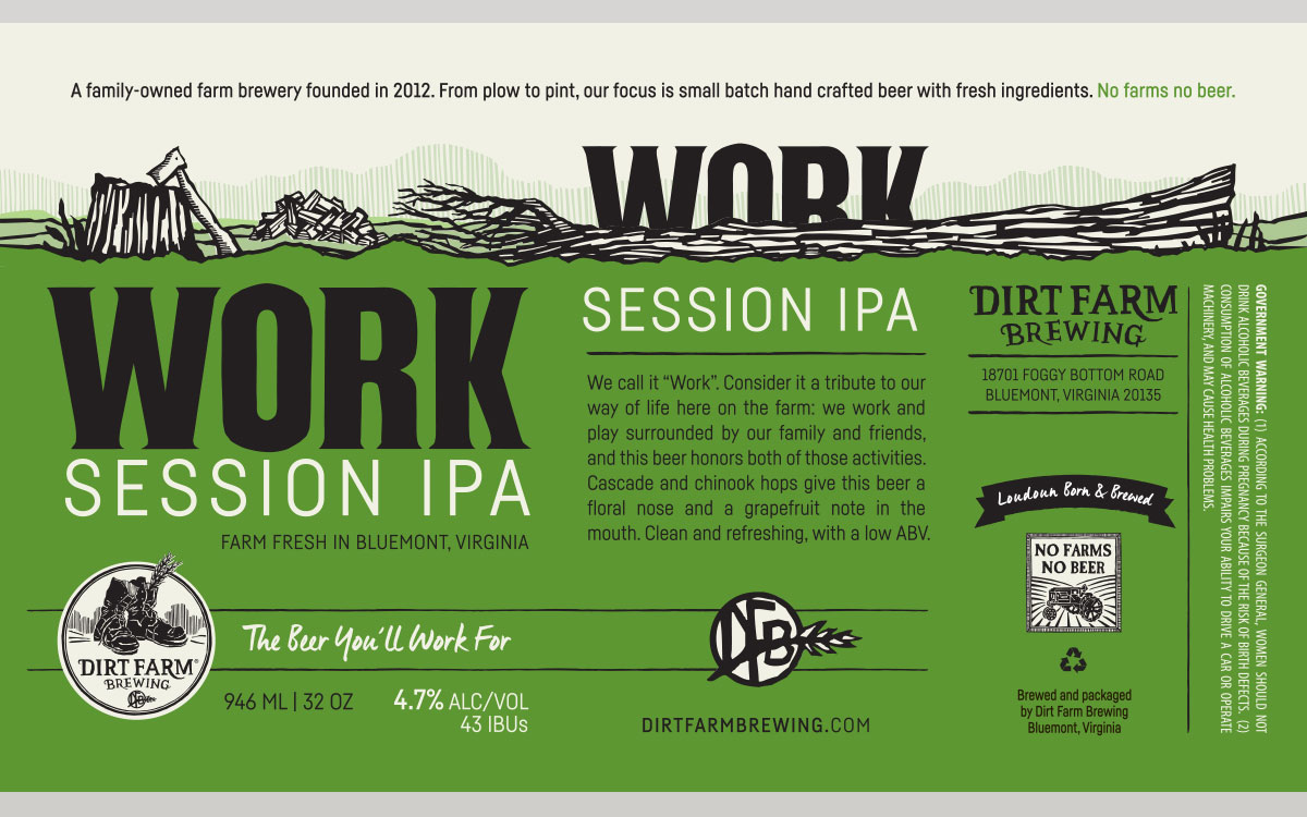 Dirt Farm Work Session IPA Label Design